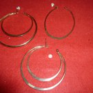 Flat Oval and Double Round Smooth Hoop Tone Clip On Earrings