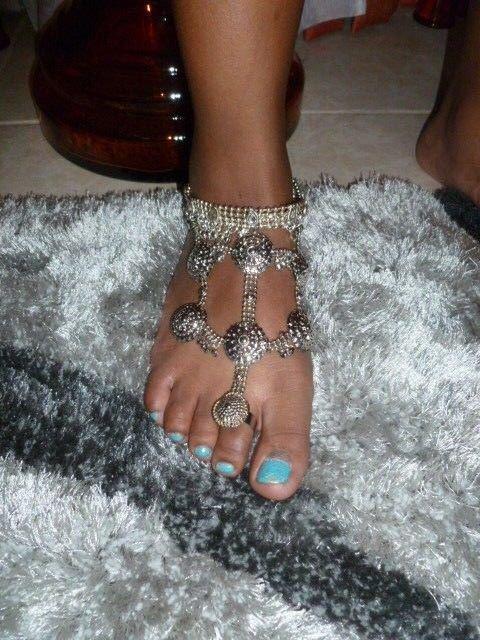 Barefoot Anklet Bracelet Sandal Belly Dance Antique Silver