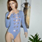 Blue knit Body Suit Gold Ring Lcce Up Style Front Long Sleeve