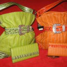 Snake embossed Bright Orange or Lime Green Hand bag  and wallet