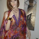 Women's Cover up-Sheer Floral Sequin Print Bat Wing Top- Beach Top
