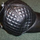 Lady's or Girls Black Leatherette quilted Ball Cap