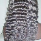 Deep Wave Lace Front Brazilian Virgin Swiss Lace Wig-Silver Gray