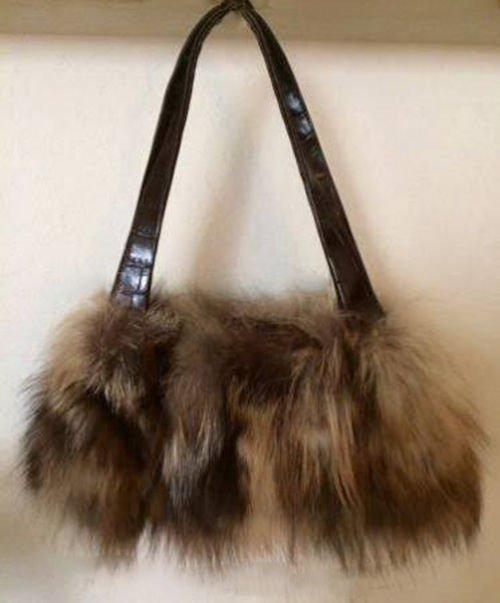 Women's Designer Paola Masi Fur Tote Purse Bag Small . NWT