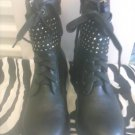 Black Ankle Biker Boot With Studded Accet Sz 8M NWT
