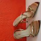 Gold Distressed Heel Strappy Sandals