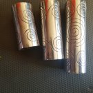 3 Metal Home Decorative Vase Candle Holder Hammered Swirls, Silver -3 sz