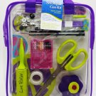 Sewing Repair Mend Kit Scissor Needle Thread Buttons Pins Purple Case Dritz New