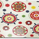 Vinyl Placemats Set of 4 Fresh Red Floral Tile Medallions 13x18 inch