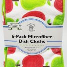 Dish Cloths 6 Pack 3 Apple Pear 3 Green 12x12 All Purpose Microfiber New