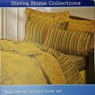 Twin Flannel Autumn Multi Striped Sheet Set 3pc Soft 100% Cotton New