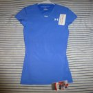 NWT UNDER ARMOUR HEAT GEAR BLUE EXERCISE T-Shirt Womens MEDIUM COMPRESSION FIT