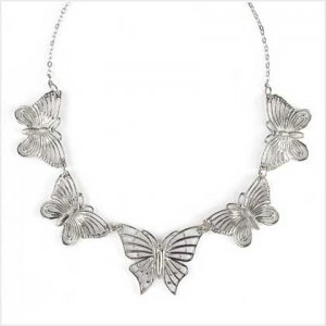 Silvertone Butterfly Necklace-FREE SHIPPING