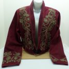 Women's Jacket Size Large Burgundy with a Design