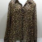 Women's Blouse Leopard Print Tan Black Size XL by No Boundaries