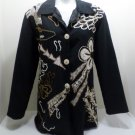 Women's Jacket Black with Tan Design Size M