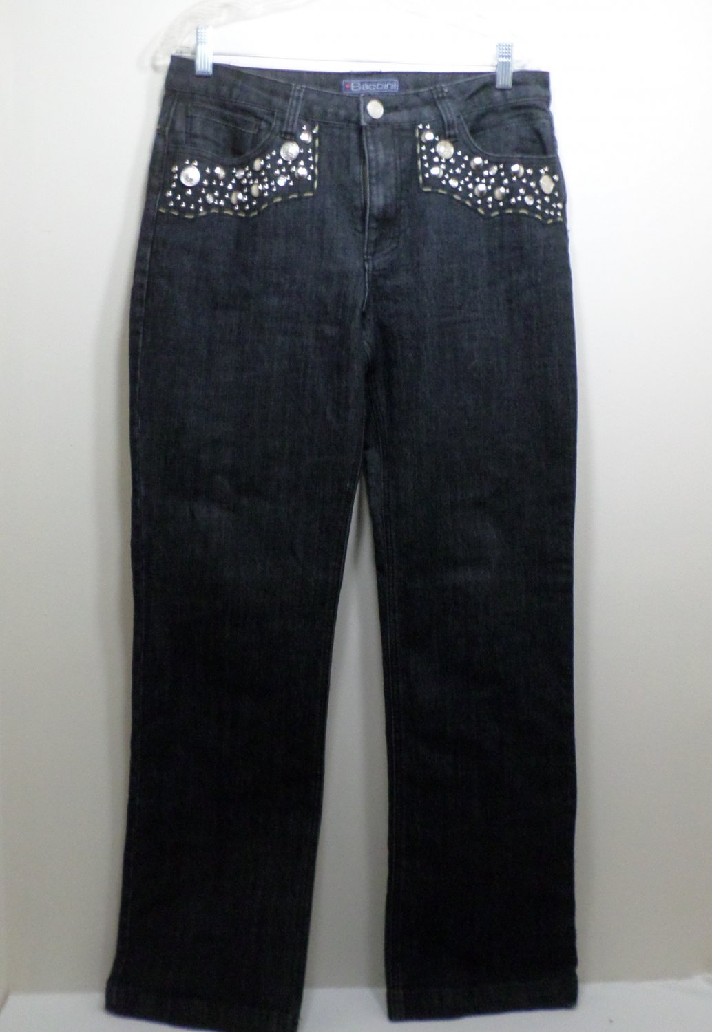 Women's Jeans Size 12 Blue with Silver Rivets on the Front and Back Pockets by Baccini