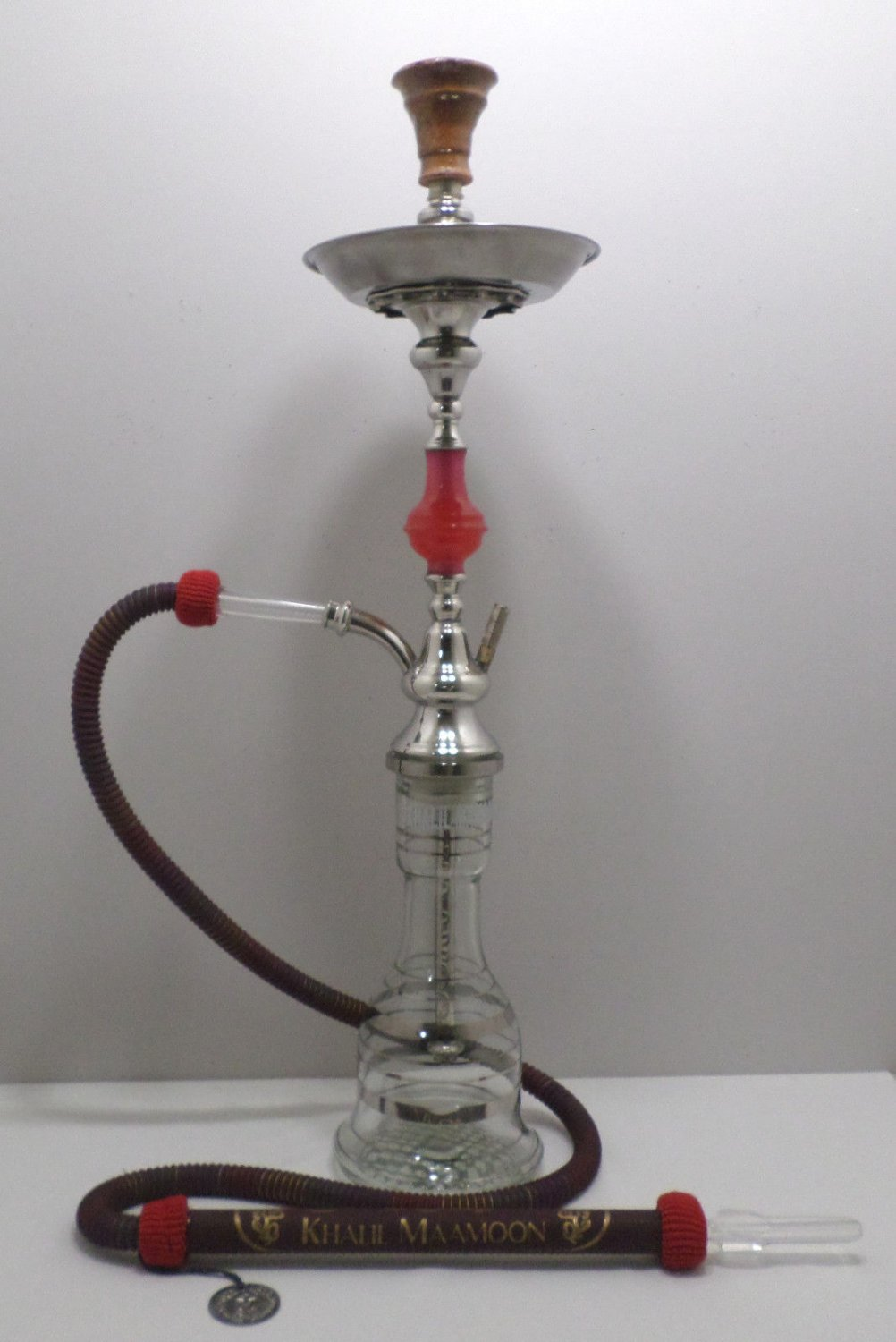"""Hookah Khalil Maamoon Clear Glass With Silver Stripes one Hose 31"""" Tall"""