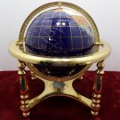 Vintage World Globe Semi Precious Gemstone Lapis Lazuli with Brass Stand
