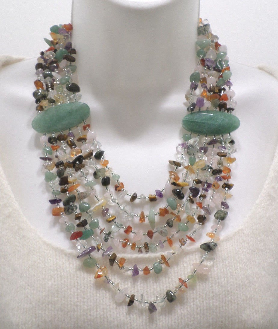 Fashion Necklace with 6 Strands of Natural Gemstones