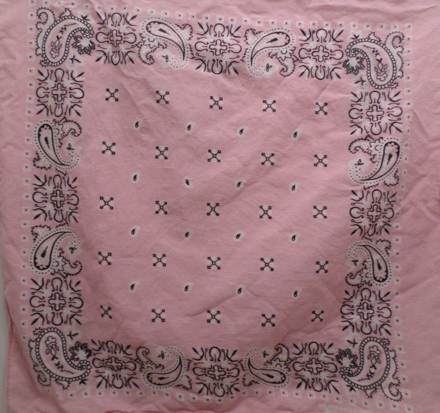 Vintage Bandana Scarf by Paris Accessories Made in USA Pink Paisley