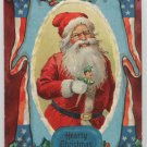 Antique Christmas Postcard Santa Claus Holding Joker Patriotic Flag 1910