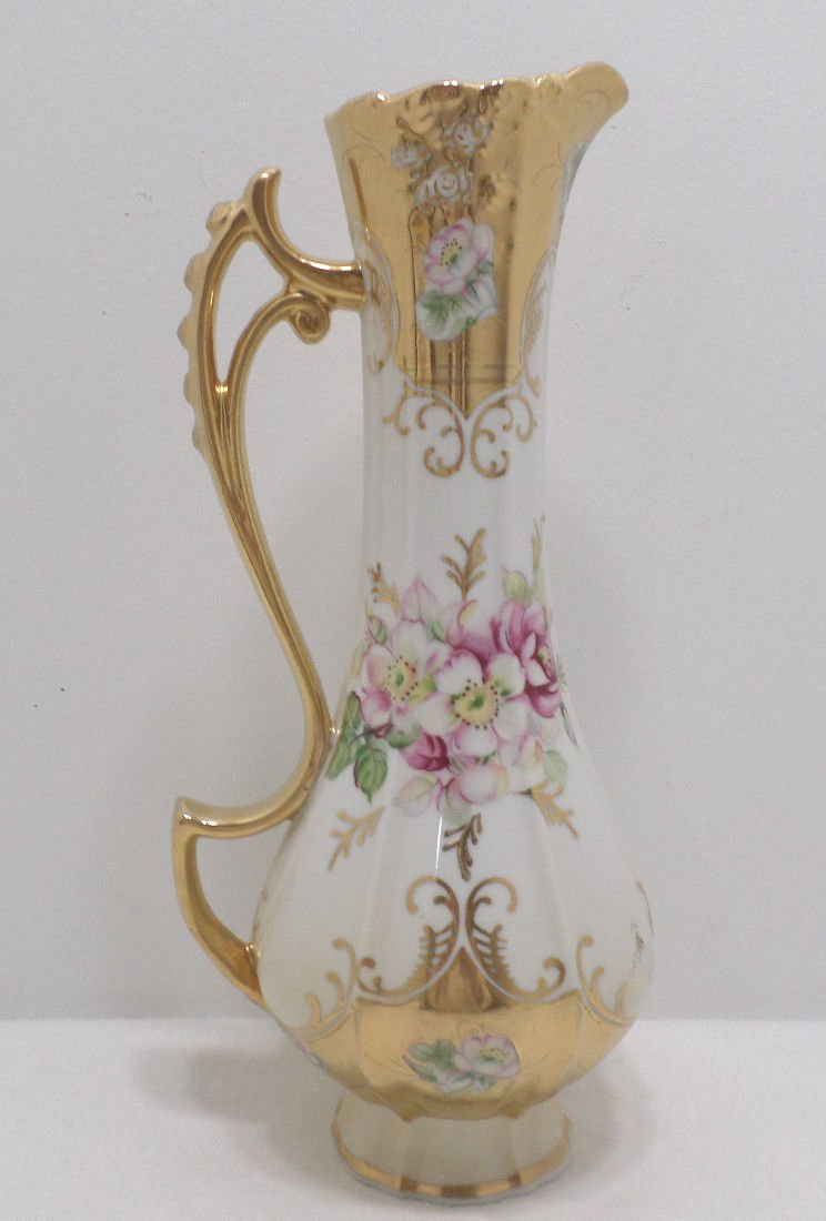 Royal Crown Pitcher Ewer Porcelain Hand Painted Pink Floral England Antique