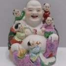 Chinese Laughing Buddha with 5 Children Statue Stamped on Bottom