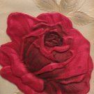 Antique Birthday Postcard Red Silk Roses Heavily Embossed Unposted