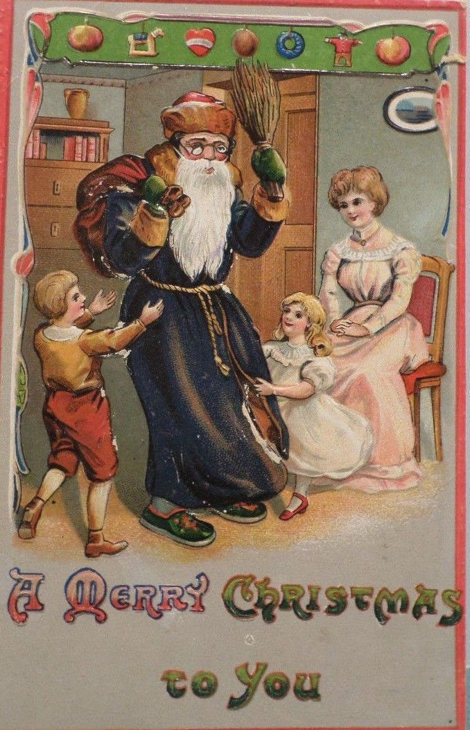 Antique Christmas Postcard Santa Claus in Black Robe Green Shoes & Gloves