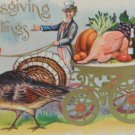 Antique Thanksgiving Postcard Uncle Sam Driving Carriage Led By A Turkey