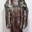 Original Antique Cast Iron Door Stop Chinese Statue Red Black