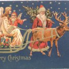 Antique Christmas Postcard Santa Claus Walking beside Sleigh with Angels 1908