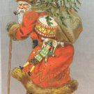 Antique Christmas Postcard Santa Claus Walking Divided Embossed Unposted