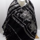 Vintage Spanish Shawl or Scarf Flamenco Dancer Style Black with Silver Roses