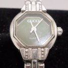 GUCCI Ladies Watch Silver Tone with Black Face Working New Battery