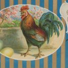 Antique Easter Postcard Rooster Colored Eggs Embossed Posted Divided