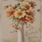 Antique Birthday Postcard Opens like a card in front Embossed, Unposted, Divided
