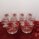Christmas Glassware Set Libbey Holly and Bows 4 Cups 4 Glasses 2 Bowls Lot of 10