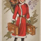 Antique Christmas Postcard Woman Santa Claus with Bag of Toys Embossed Unposted
