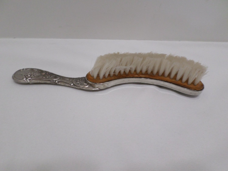 Antique Vanity Brush Silver Plated Crescent Shaped Floral Design