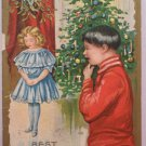 Antique Christmas Postcard Little Boy Little Girl Embossed Posted Divided