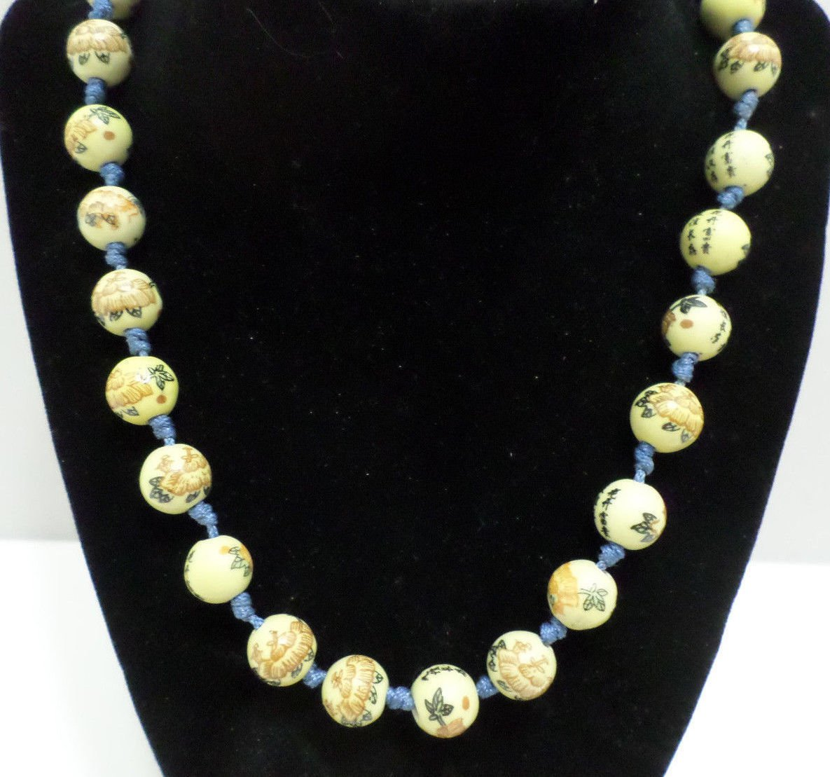 Antique Necklace hand knotted Hand Painted yellow porcelain beads Asian Oriental