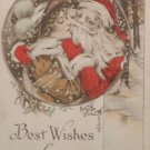 Antique Christmas Postcard Santa Claus Kissing a Woman Gibson Art Co. Posted