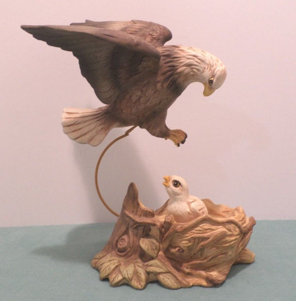Eagle Figurine Mother Feeding her Babies in the Nest Bisque Stamped Eagle