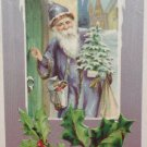 Antique Christmas Postcard Santa Claus Dressed in Blue Knocking on Door Germany