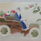 Christmas Postcard Santa Claus Blue Robe Delivering Gifts in Car Mechanical