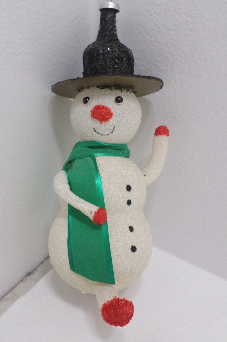 Vintage Christmas Tree Ornament White Glass Snowman with Arms and Legs Black Hat
