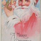 Antique Christmas Postcard Santa Claus Holding a Joker
