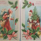 Antique Christmas Postcards Santa Claus Holding a Christmas Tree Two Cards